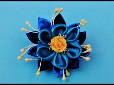 DIY Kanzashi   How To Make A Ribbon Flower Barrette   Hair Accessories   Stoff Blumen Haarspange