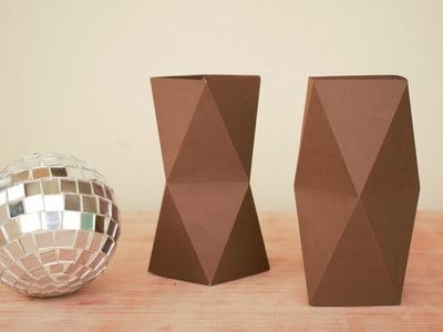 DIY | PAPER  FLOWER VASE --origami paper craft