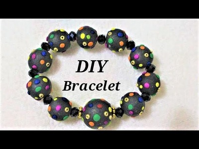 DIY Polymer Clay Dotted Multicolored-Beads Bracelet | Jewellery Making Tutorial