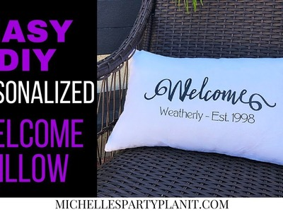 Easy DIY Personalized Welcome Pillow with Cricut