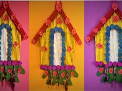House shaped key holder showpiece with newspaper | cardboard | craft paper
