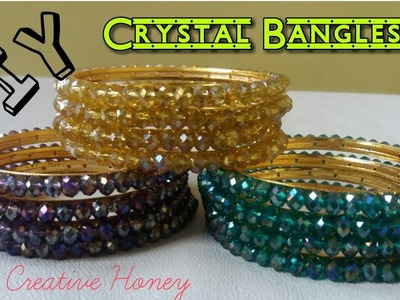 How to make crystal beaded side bangles. Beautiful bangles tutorial DIY