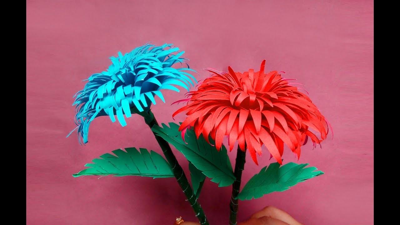 How to Make Paper Stick Flower | DIY Hand Craft Ideas for Home-FlowerUPC |