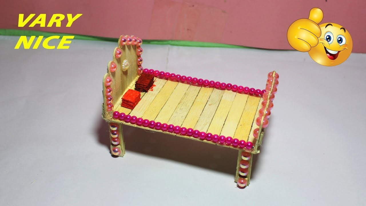 How to make Popsicle stick Bed--Popsicle stick Craft