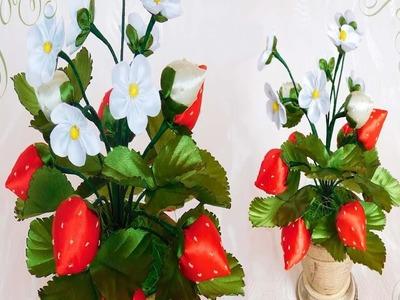How to make ribbon strawberry.diy #ribbon strawberry.Craft idea