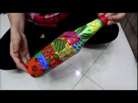 How to paint bottle with acrylic paint || Tutorial || DIY || #Monday Magic || Priya Maheshwari