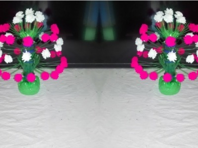 Make beautiful woolen flower. Empty plastic bottle vase making craft water bottle recycle vase