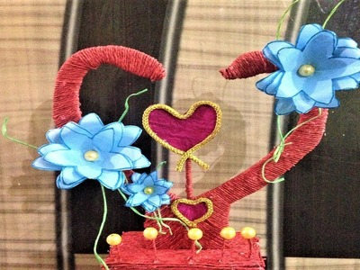 Making heart shaped showpiece design ideas from waste material - diy | cardboard | craft paper