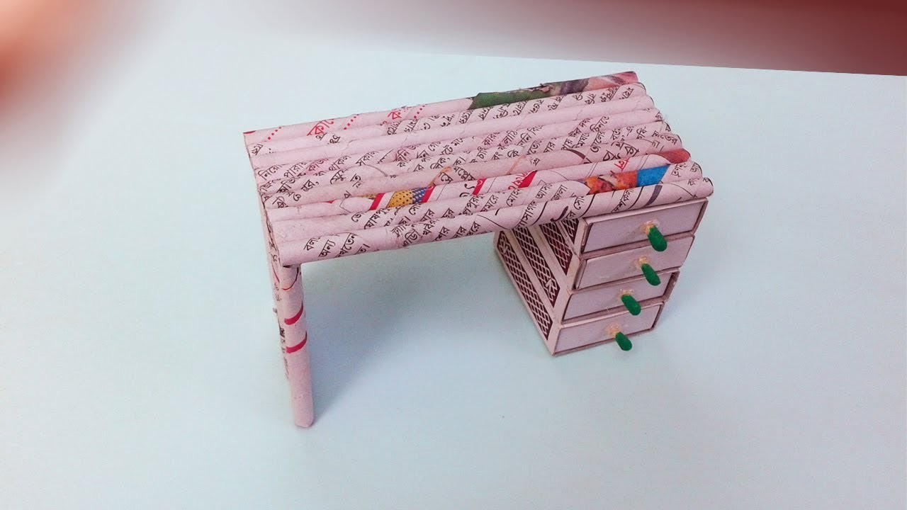 Newspaper craft   How to make Super Easy Newspaper Table with drawers   Best Out Of Waste