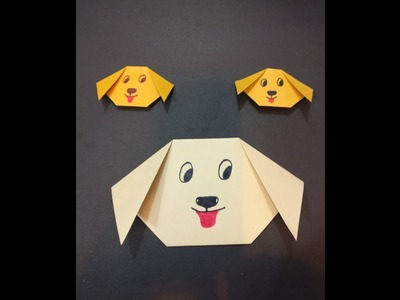 Simple Paper Dog face make an origami dog face animals with Kids ... | 300x400