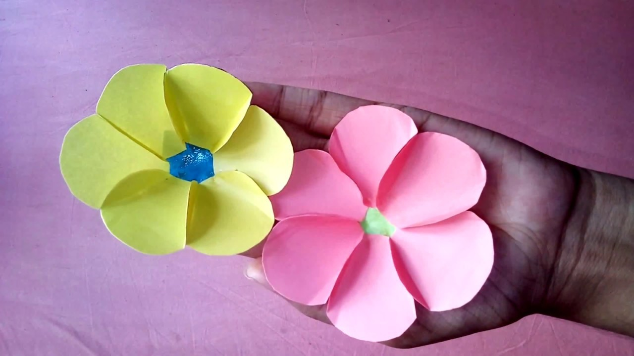 Paper Flowers Using Color Paper Craft Ideas Diy Flowers