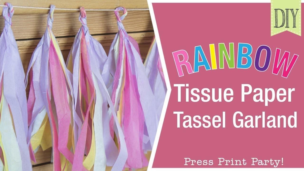 Rainbow Paper Tissue Garland DIY