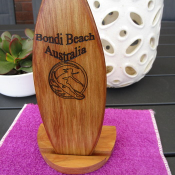 Surf board trophy with stand solid Australian timber