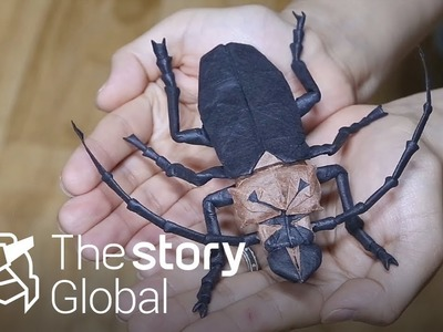 This is origami! He make insects with only a sheet of paper.