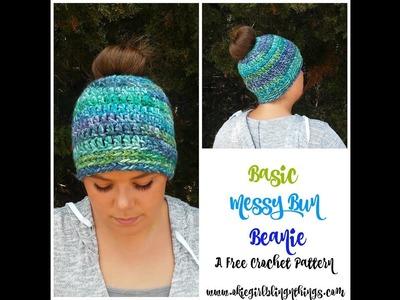 Basic Messy Bun Beanie Crochet Tutorial, Messy Bun Hat,