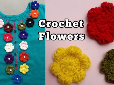 CROCHET FLOWERS: how to crochet puff flower | decor your neck with crochet flower