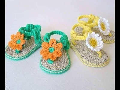 Crochet for baby-floral summer sandals-with patterns