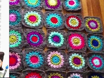 Crochet Sunburst Granny Square Blanket ~ would you like a video? ~ Artzyfartzy