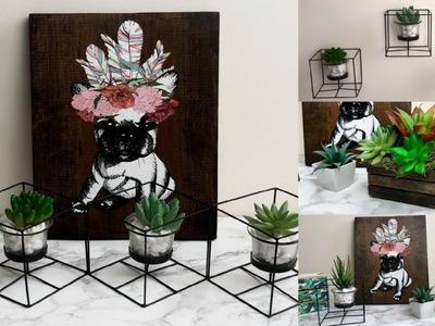 DOLLAR STORE HOME DECOR DIY (WALL ART, SUCCULENTS)