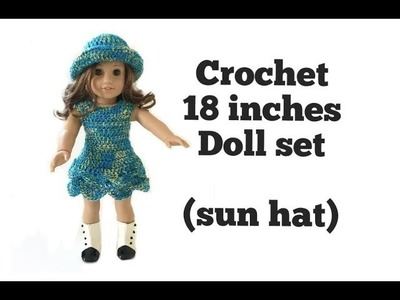 How to Crochet 18 inches Doll Sun Hat