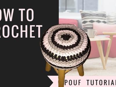 How to Crochet a Pouf - T-shirt yarn tutorial