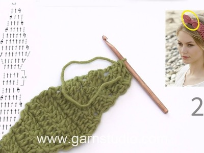 How to crochet the tie ribbon to the headband in DROPS 190-7