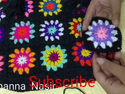 How to make  crochet granny square pattern. .