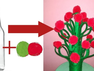 How to make flower pot with wool | Best idea to use bottle, plastic paper folder and woolen