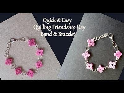 How to make Friendship Day Band & Bracelet || DIY Quilling Bracelet