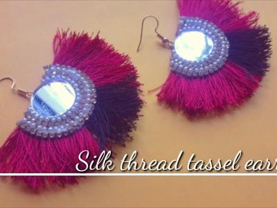 How to make silk thread tassel earring II Fan design earring II DIY Indian arts gallery 2018