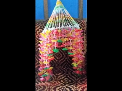 How to make wall hanging with shopping bag And cotton_craft ideas by cloth bag.