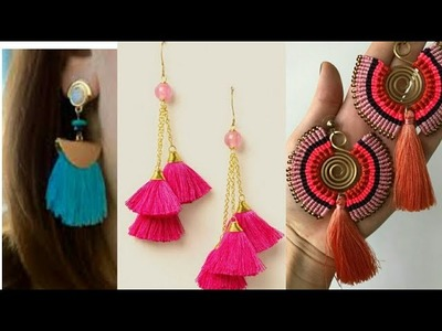 Latest Tassel earrings designs.How to make tassel earrings.Hina khan tassel earrings.tassel