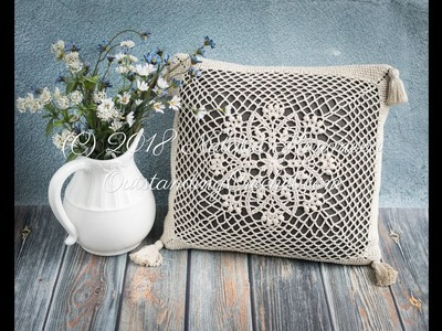 Lotus Throw Pillow Case Crochet Pattern - Puff Stitch with 6 Repetitions