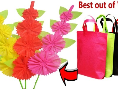Recycle Shopping Bags Flower || How To Make Flower Sticks out of Fabric Carry Bag