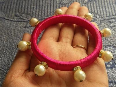Silk thread bangle.silk thread kada.diy silk thread pearl bangle.jewellery making.diy bangles
