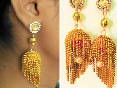 Silk thread chain earrings | How to make designer silk thread earrings