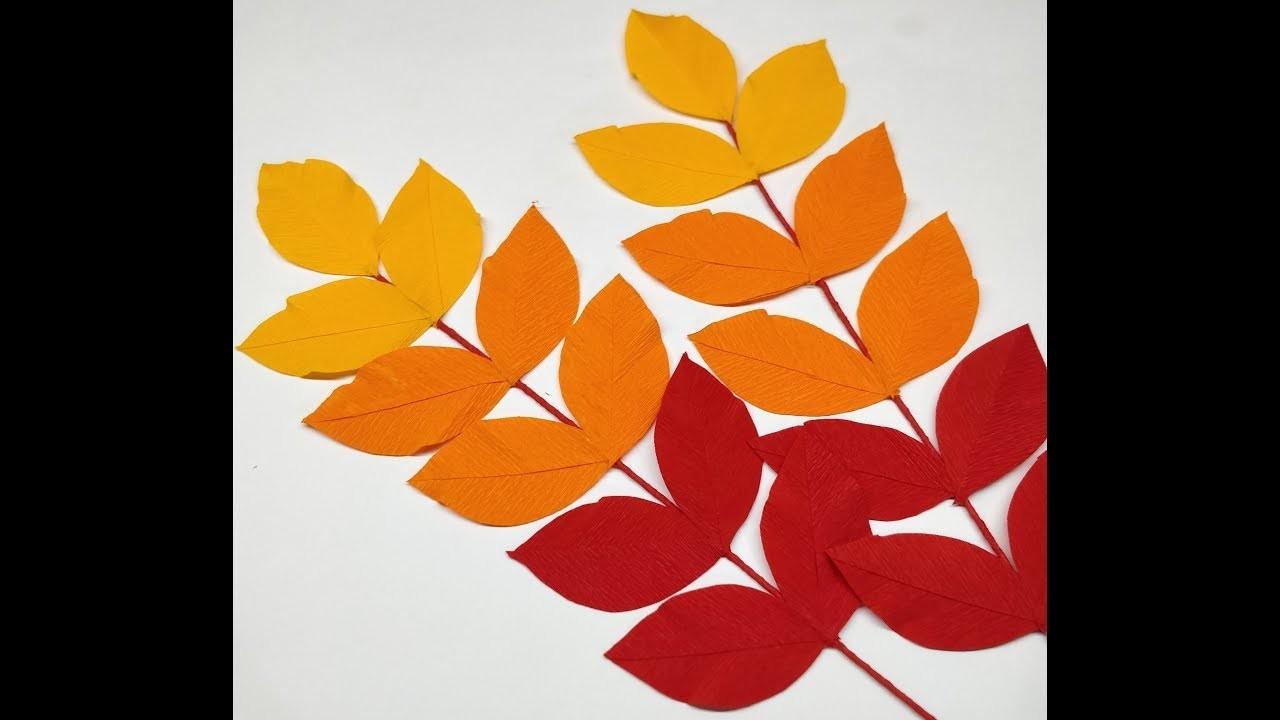 Diy How to make Crepe Paper Leaf Sticks for decoration