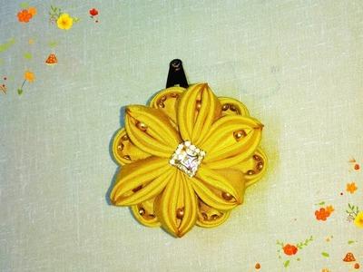 DIY kanzashi satin flower, hair accessoire , kanzashi flower tutorial