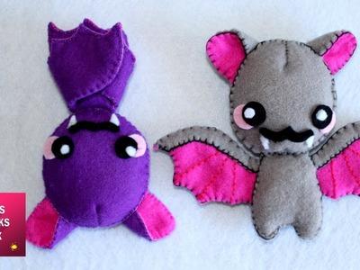 Felt Bat Plushie - DIY : How to make cute felt bat Plushie. Kids Crafts - Felt Crafts