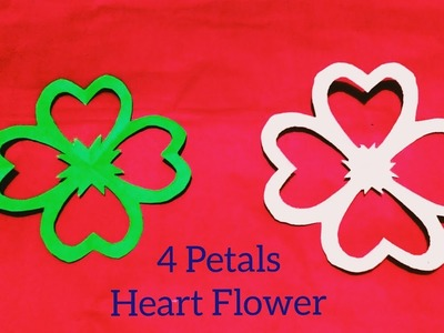 How to Make a 4 Petals Paper Flower→Heart ♥ 4 Petals Perfect Flower→Simple and Easy Origami