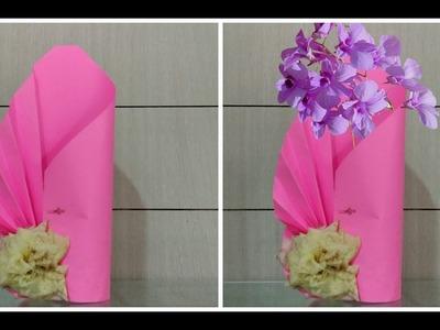 How to Make A Flower vase at Home I Simpel  Paper Craft  Flower Port DIY CRAFT