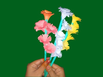 How to Make Beautiful Paper Flower | Easy Stick Paper Flower with Color Paper-FlowerUpc |