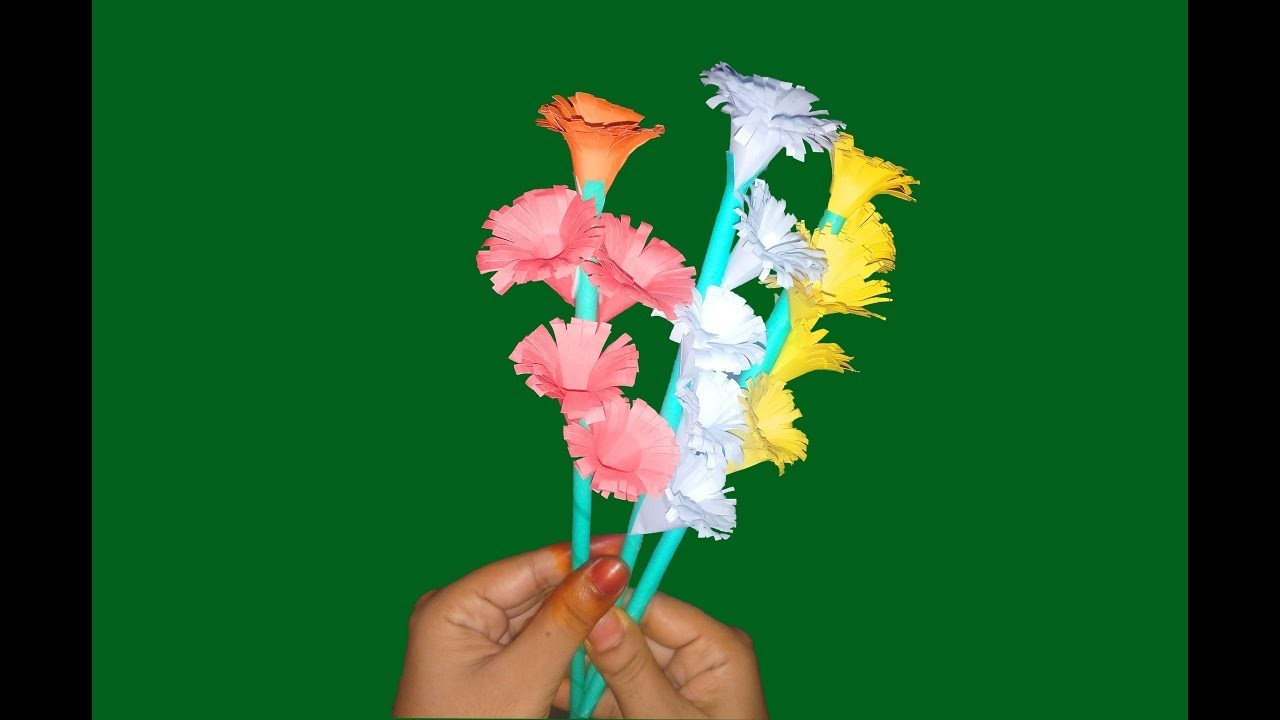 How to Make Beautiful Paper Flower   Easy Stick Paper Flower with Color Paper-FlowerUpc  