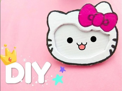 HOW TO MAKE  DIY HELLO KITTY PHOTO FRAME AT HOME