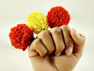 How to Make Marigold Flower | DIY Paper Flower | Crafts Junction