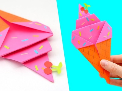 How to Make Origami Ice Cream Cone Tutorial | Origami for Kids | Paper Ice Cream