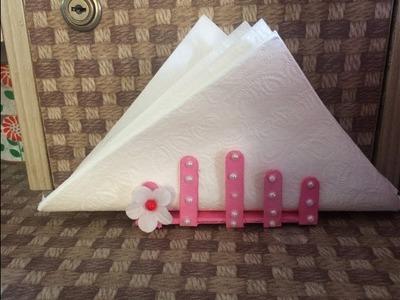 How to make tissue paper stand .Ice cream stick tissue paper holder.Room decor ideas.