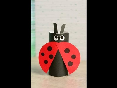Recycling Ideas - How to Make Toilet Paper Roll Ladybug  Pencil Holders + Tutorial !