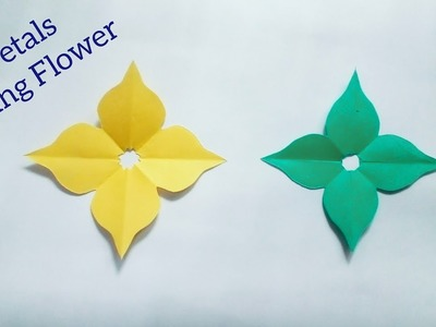 Simple & Easy Handmade Cutting Flower→How to Cut 4 Petals Paper Origami→2