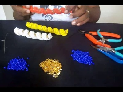 Tutorial on how to make helix beaded necklace design